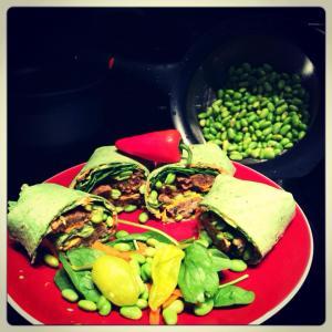 Veggie burger and hummus wrap